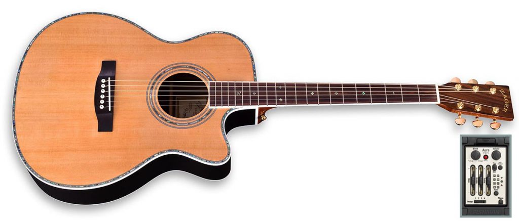 """ZAD80CE Solid Cedar/Rosewood Acoustic Electric AURA Pro Series Smaller """"OM"""" Size"""