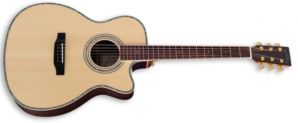 """ZAD900CE Solid Spruce/Rosewood Acoustic Electric AURA Smaller """"OM"""" Size"""