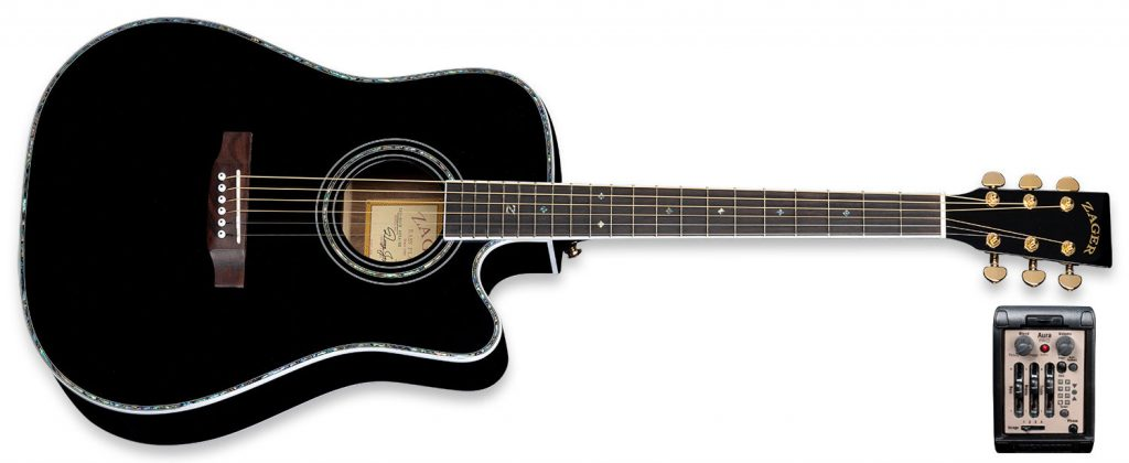 """ZAD80CE """"AURA"""" Black Lacquer Special Edition Solid Cedar/Rosewood Acoustic Electric Pro Series"""